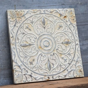 Large 32 Inch White Rusty Tin Wall Decor