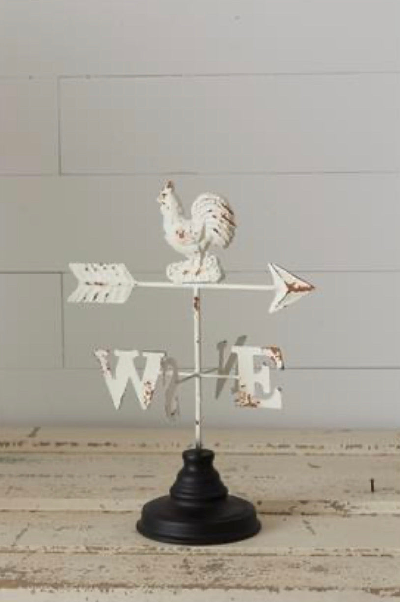 Distressed White Chicken Weather Vane