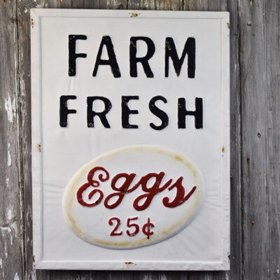 Tin Farm Fresh Eggs Sign