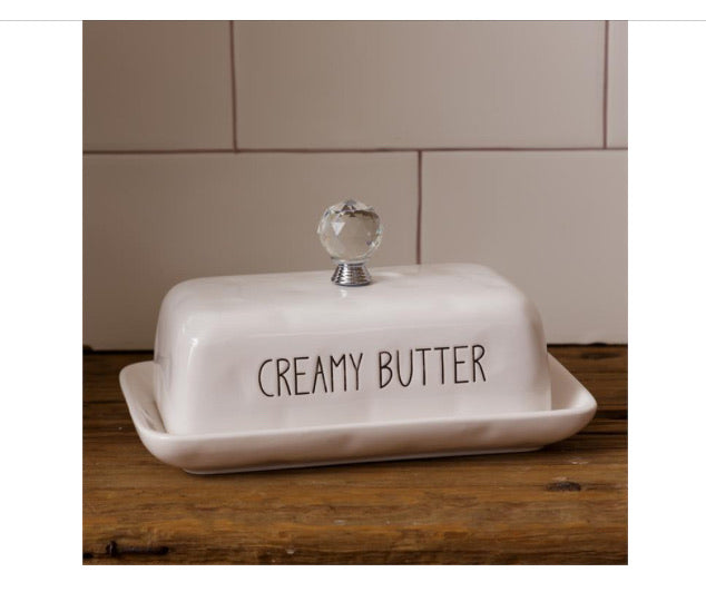 Ceramic White Butter Dish