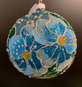 BRONNER'S BLUE WITH FLOWERS ORNAMENT