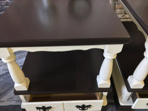 M.H. Set of Off White Side Tables/Night Stands