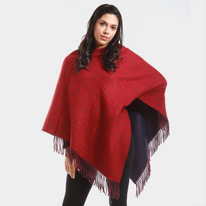 Burgundy Fringed Poncho