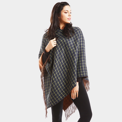 Navy Checked Poncho With Fringe