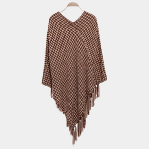 Brown Fringed Poncho