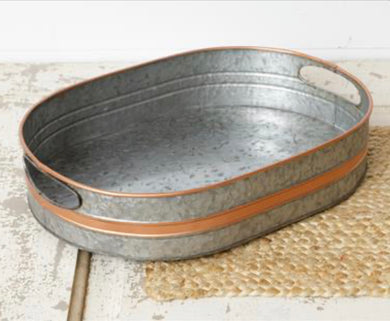 Galvanized Tray With Copper Accents