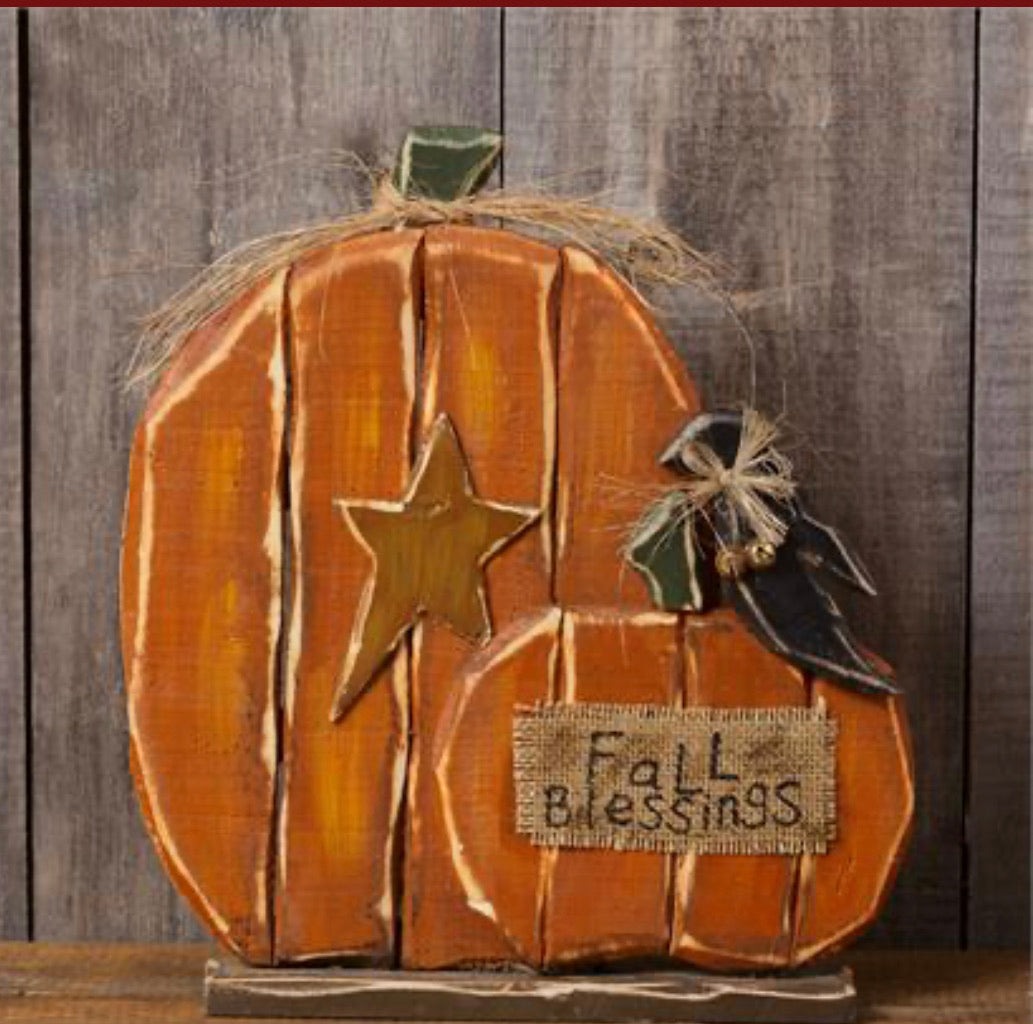 Wooden Pumpkins With Crow-Fall Blessings