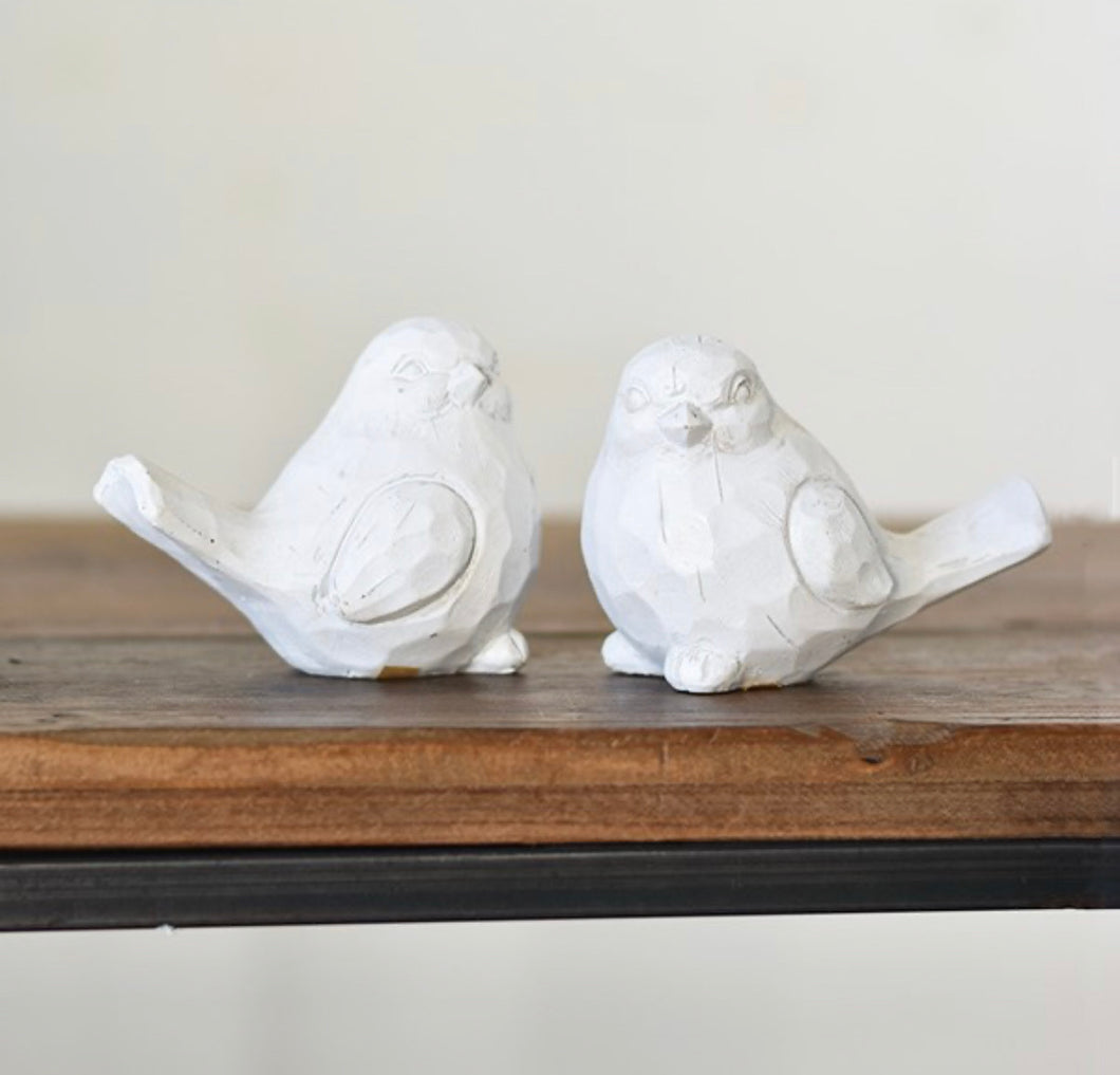 "4"" White Resin bird Set/2"