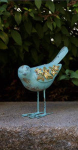 Blue Vintage Bird With Flowers