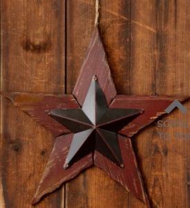 Distressed Burgundy Wood Star