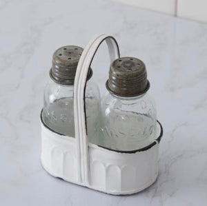 White Caddy Salt and Pepper Shakers