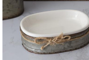 Soap Dish With Galvanized Caddy