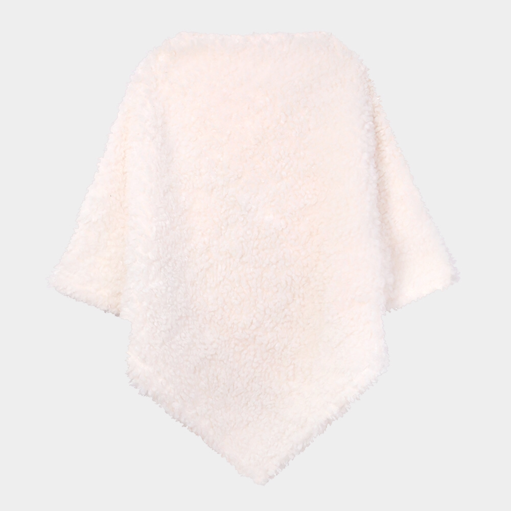 Faux Fur Edged Ivory Poncho