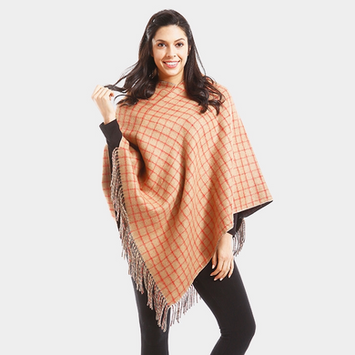 Beige Checked Poncho with Fringe