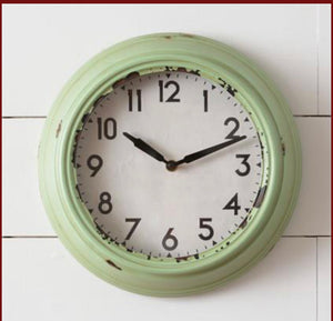 "Retro Green 12"" Round Clock"