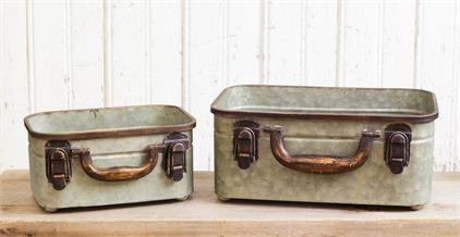 Rectangular Tims- Galvanized Suitcase Style