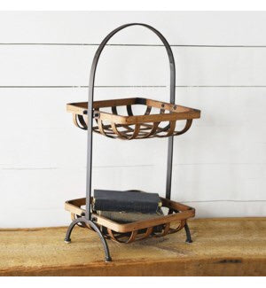 2 Tier Tin Woven Stand