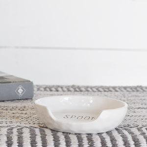 WHITE CERAMIC SPOON REST