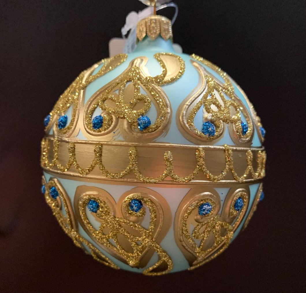 Bronner's Turquoise And Rose Gold Ornament