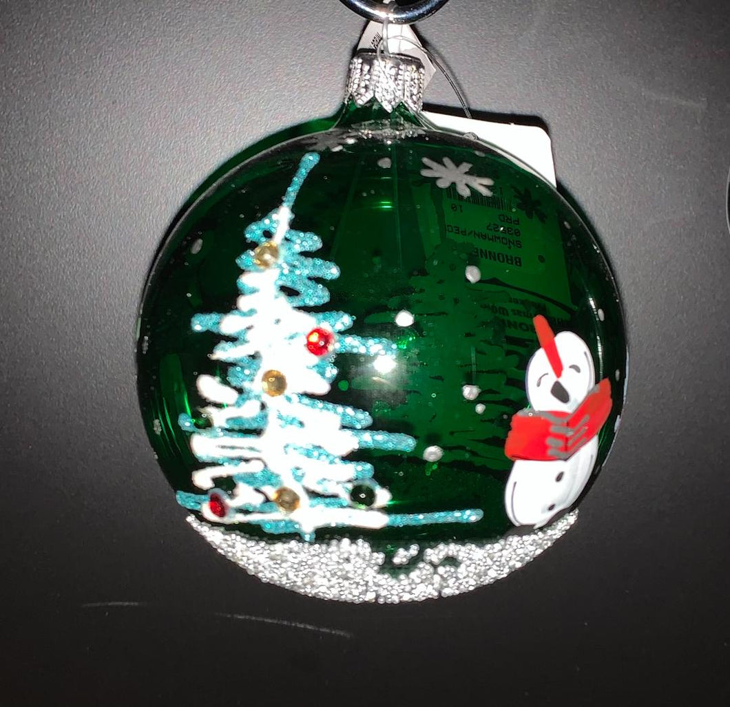 Bronner's Green Snowman And People Ornament