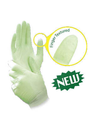 Avocado green nitrile gloves by Blossom