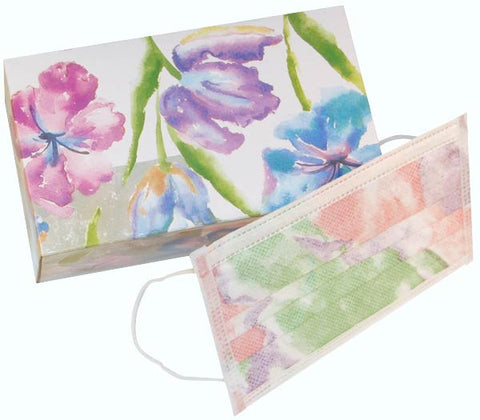 Floral earloop exam masks by Maytex
