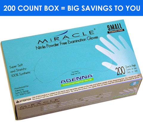 Adenna Miracle powder-free blue nitrile exam gloves