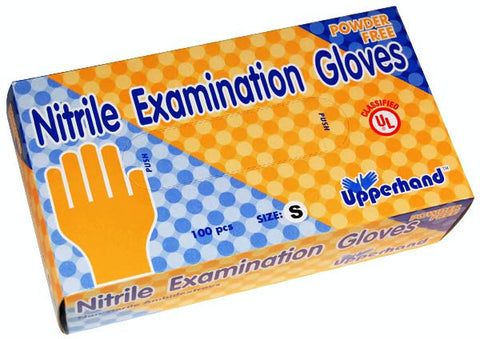 Upperhand powder-free blue nitrile exam gloves
