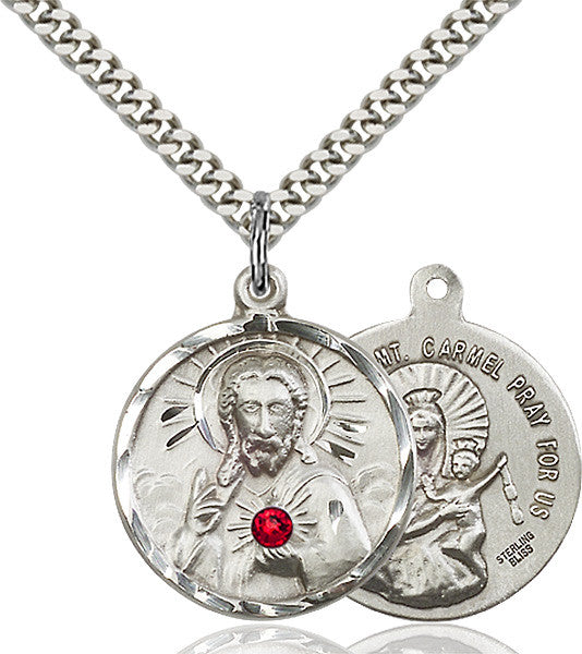 Scapular Sterling Silver Pendant w/Ruby Swarovski Crystal Necklace by Bliss Mfg