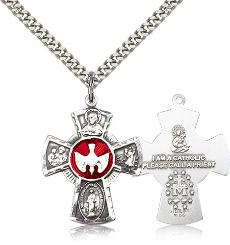 Red Epoxy Flared 5-Way Holy Spirit Dove Sterling Silver Cross Medal Pendant Necklace w/24
