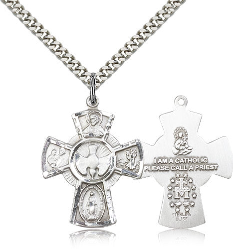 Flared 5-Way Holy Spirit Dove Sterling Silver Cross Medal Pendant Necklace w/24