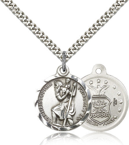 Bliss Manufacturing St Christopher Round Sterling Silver US Air Force Medal Pendant