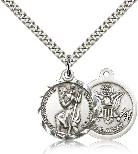 Bliss Manufacturing St Christopher Round Sterling Silver US Army Medal Pendant