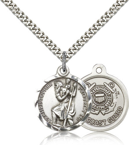 Bliss Manufacturing St Christopher Round Sterling Silver US Coast Guard Medal Pendant