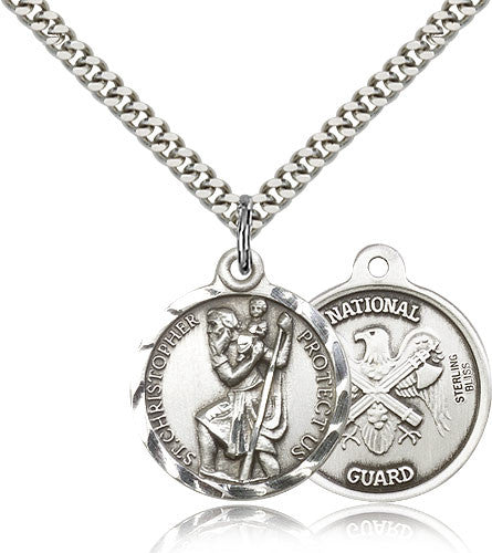 Bliss Manufacturing St Christopher Round Sterling Silver US National Guard Medal Pendant