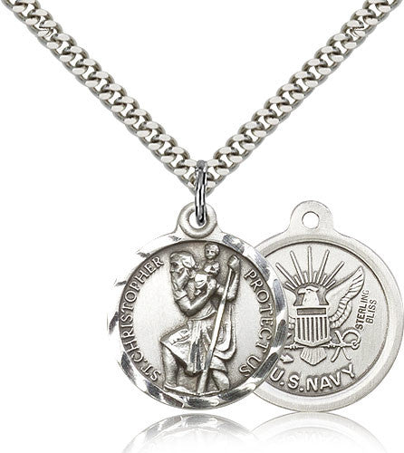 Bliss Manufacturing St Christopher Round Sterling Silver US Navy Medal Pendant