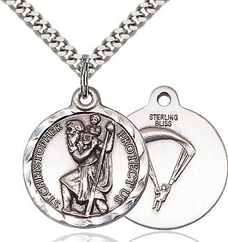 Bliss Manufacturing St Christopher Round Sterling Silver US Paratrooper Medal Pendant
