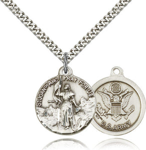 Bliss Manufacturing St Joan of Arc Round Sterling Silver US Army Medal Pendant