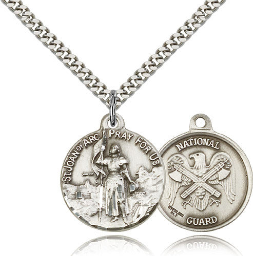 Bliss Manufacturing St Joan of Arc Round Sterling Silver US National Guard Medal Pendant