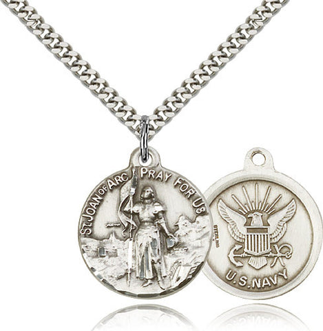Bliss Manufacturing St Joan of Arc Round Sterling Silver US Navy Medal Pendant