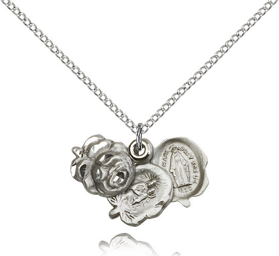 Bliss Manufacturing Sterling Silver Rosebud Miraculous Medal Pendant