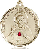 Sacred Heart of Jesus Scapular Sterling Pendant w/Ruby Crystal Necklace by Bliss Mfg