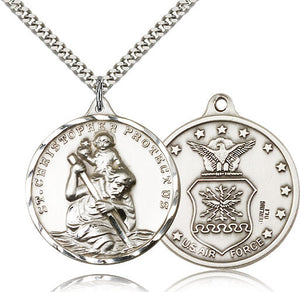 Saint Christopher Military US Air Force Sterling Silver Pendant Necklace by Bliss Mfg