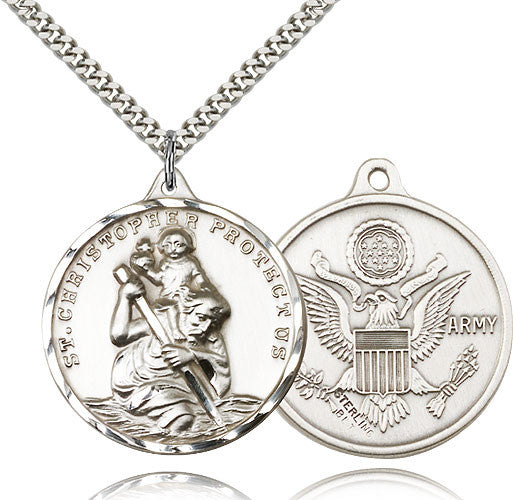 Saint Christopher Military US Army Sterling Silver Pendant Necklace by Bliss Mfg
