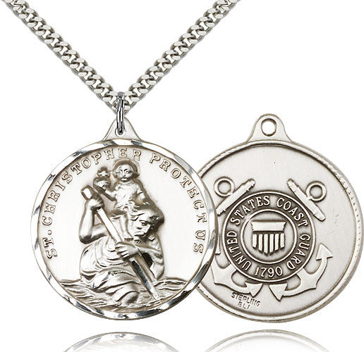 Saint Christopher Military US Coast Guard Sterling Silver Pendant Necklace by Bliss Mfg