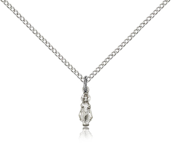 Bliss Tiny Jesus Infant of Prague Figure Shaped Sterling Silver Pendant Necklace w/Chain