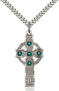 Bliss Manufacturing Kilklispeen Cross Sterling Silver Pendant w/Emerald Swarovski Crystals Necklace