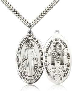 "Bliss Large Miraculous Medal Sterling Silver Pendant Necklace w/24"" Chain"