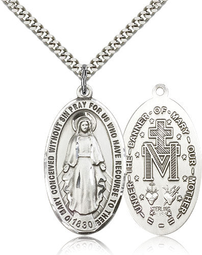 Bliss Large Miraculous Medal Sterling Silver Pendant Necklace w/24
