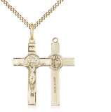 "Bliss Medium Sterling Silver Patron St Benedict Crucifix Pendant Necklace w/24"" Chain"